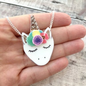Unicorn necklace in rainbow colours