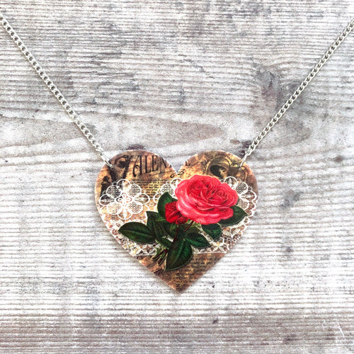 Vintage heart pendant necklace - Valentine's Day gift