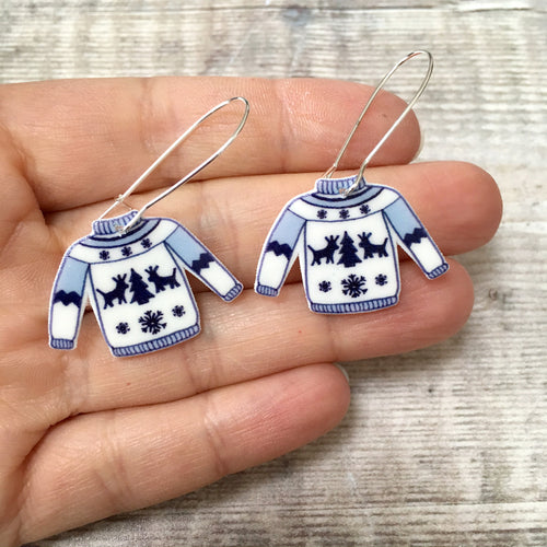 Christmas jumper novelty holiday earrings - Christmas party fashion