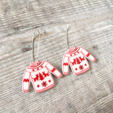 Load image into Gallery viewer, Christmas jumper funny holiday drop earrings - Christmas party fashion
