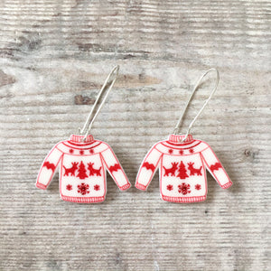 Christmas jumper funny holiday drop earrings - Christmas party fashion