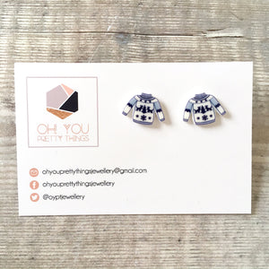 Christmas jumper novelty stud earrings - Christmas party jewellery