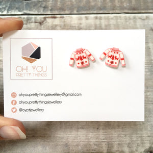 Christmas jumper funny holiday stud earrings - Christmas party fashion