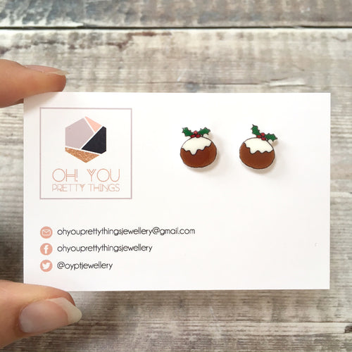Christmas pudding novelty holiday stud earrings