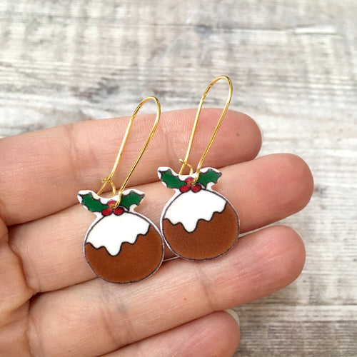 Christmas pudding novelty holiday earrings
