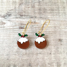 Load image into Gallery viewer, Christmas pudding novelty holiday earrings