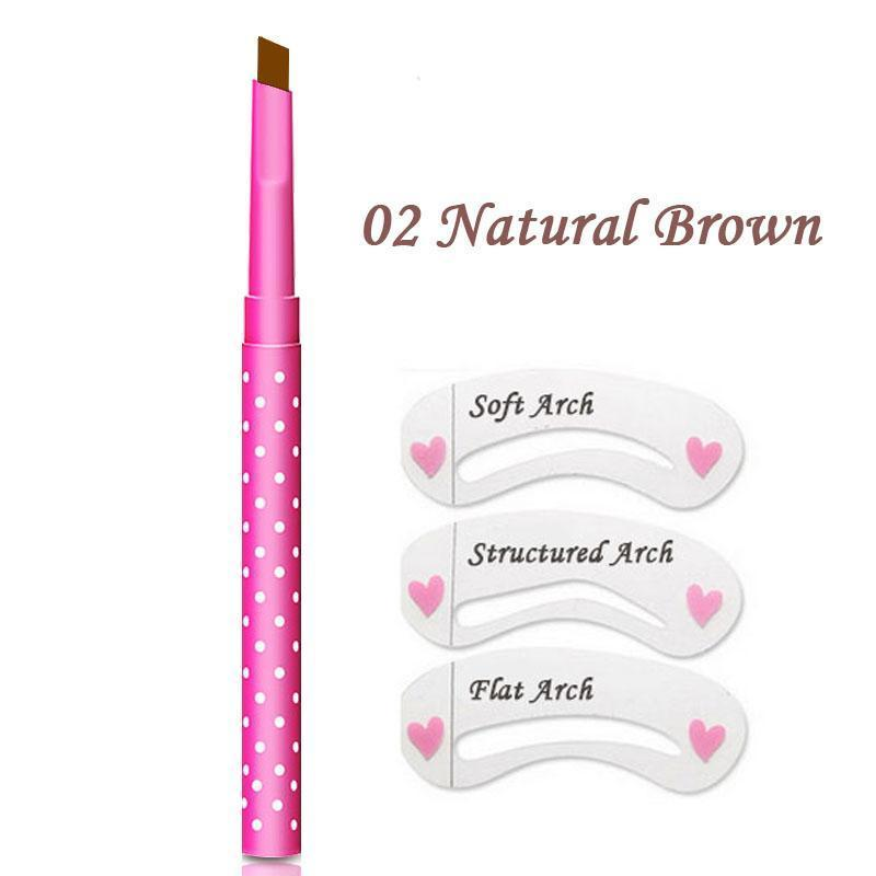 Automatic Flat Tip Brow Pencil with Stencil