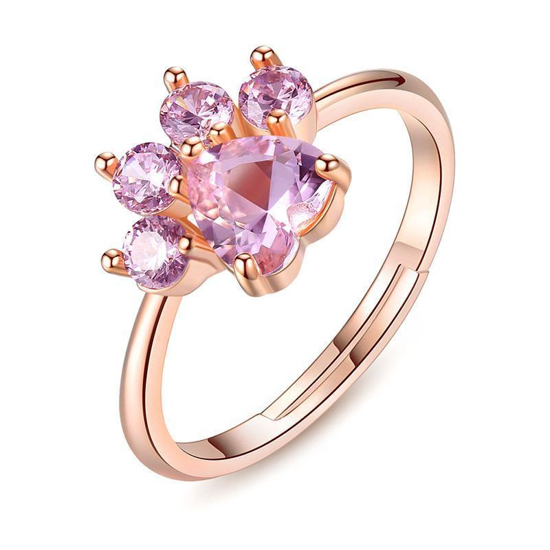 Pink Quartz Rose Gold Adjustable Ring