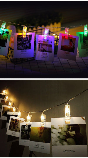 LED Photo Clip Holder with String lights