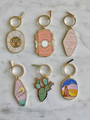 Brass and Enamel Keychains