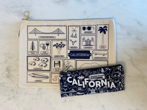 California Canvas Zip Pouches