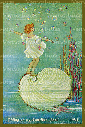 Outhwaite Fairy 1915 - 5 - Riding on a Nautilus Shell