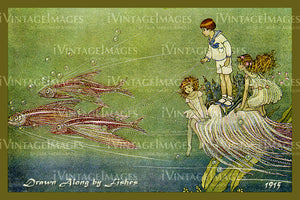 Outhwaite Fairy 1915 - 6 - Drawn Along by Fishes