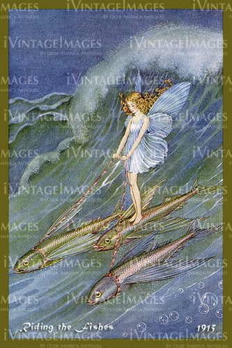 Outhwaite Fairy 1915 - 8 - Riding the Fishes