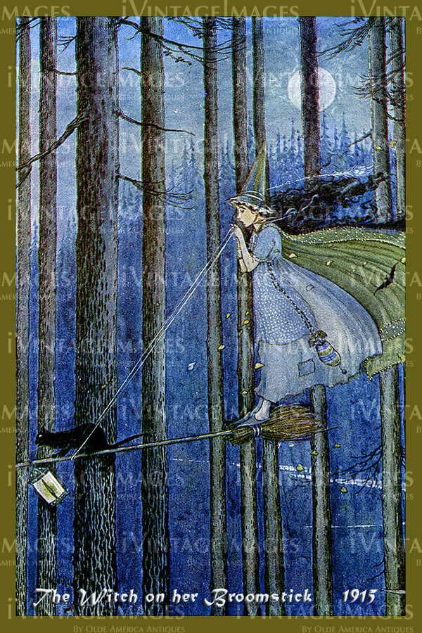 Outhwaite Fairy 1915 - 14 - The Witch on her Broomstick