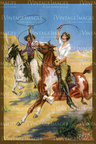 A Cowgirl and Cowboy Print 1915 - 41
