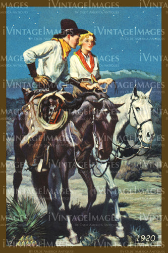A Cowgirl and Cowboy Print 1920 - 42