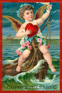 Victorian Valentine and Cupid 1910 - 69