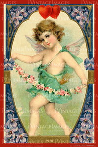 Victorian Valentine and Cupid 1910 - 71
