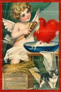 Victorian Valentine and Cupid 1910 - 73