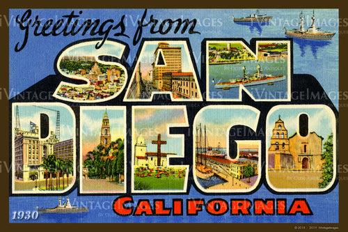 San Diego California Large Letter 1930 - 040