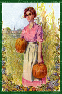 Lady and Pumpkins - 1910 - 056