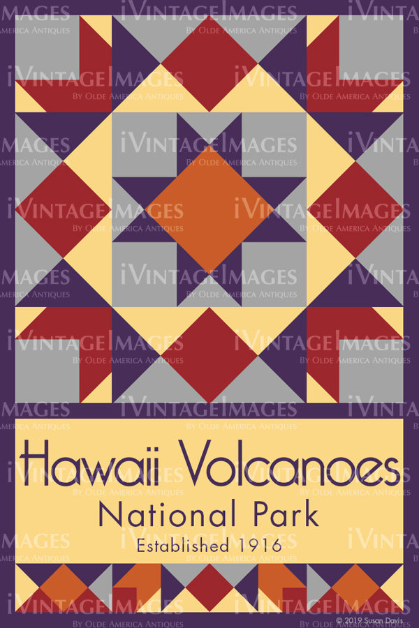 Hawaii Volcanoes Quilt Block Design by Susan Davis - 44
