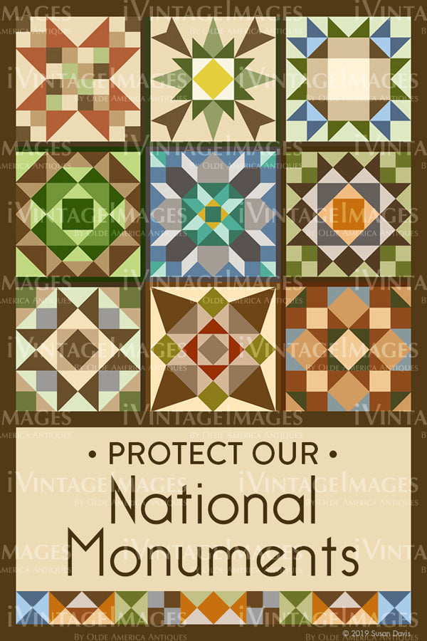 Protect Our National Monuments Quilt Block Design by Susan Davis - 73