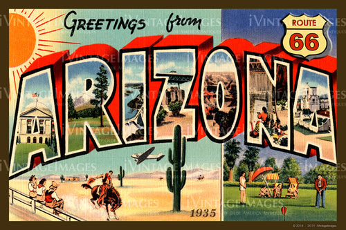 Arizona Route 66 Postcard 1935 - 002