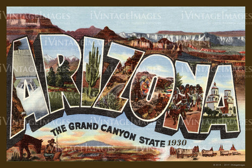 Arizona Large Letter Postcard 1935 - 003