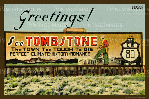 Greetings Tombstone Postcard 1935 - 010