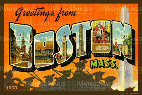 Boston Large Letter Postcard 1930 - 001