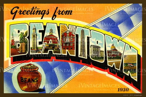 Beantown Large Letter Postcard 1930 - 002