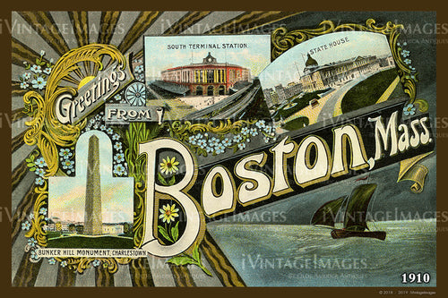 Greetings from Boston Postcard 1910 - 003