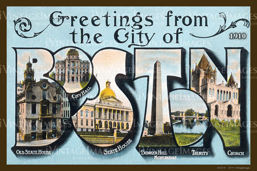 Greetings from Boston Postcard 1910 - 006