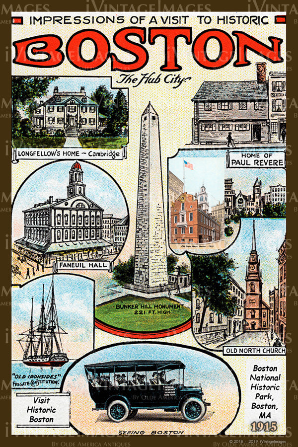 Boston The Hub Postcard 1915 - 009