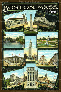Boston Multi View Postcard 1910 - 011