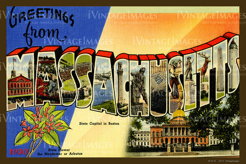 Massachusetts Large Letter Postcard 1930- 082