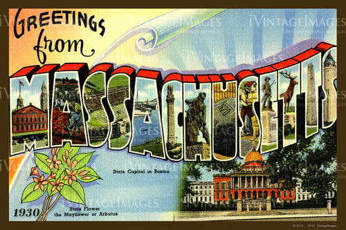 Massachusetts Large Letter Postcard 1930- 083