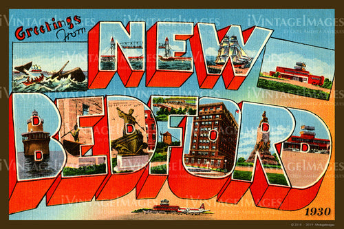 New Bedford Large Letter Postcard 1930- 084