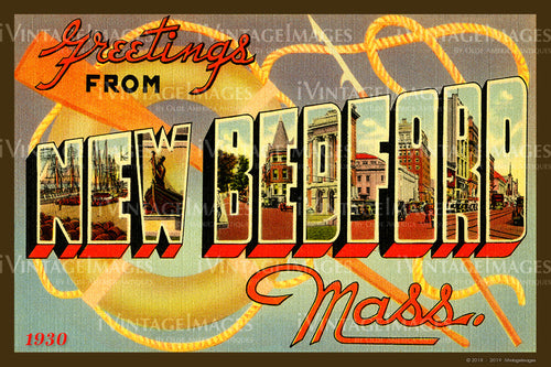 New Bedford Large Letter Postcard 1930- 085
