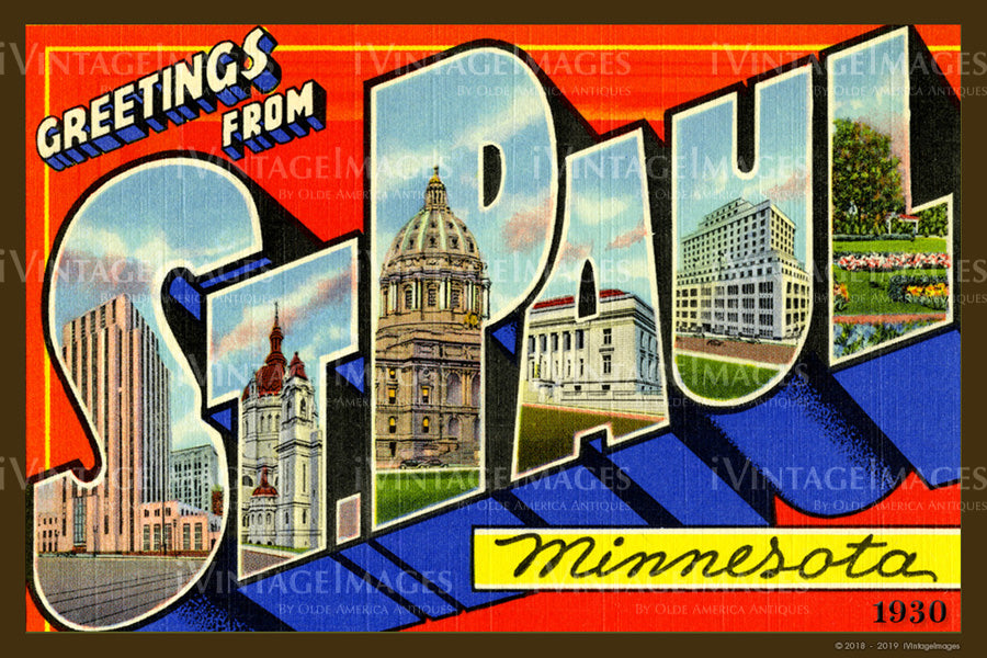 Saint Paul Minnesota Large Letter 1930 - 009