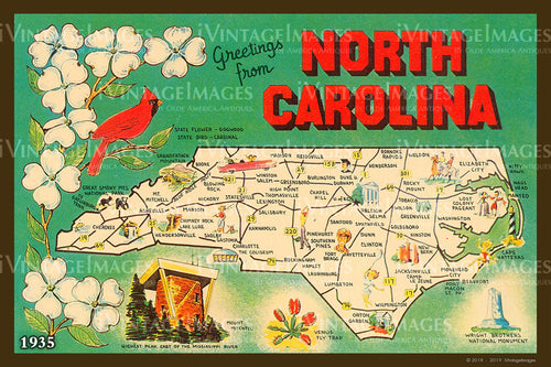 North Carolina State Map 1935 - 028
