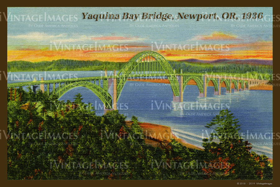Yaquina Bay Bridge Postcard 1936 - 028