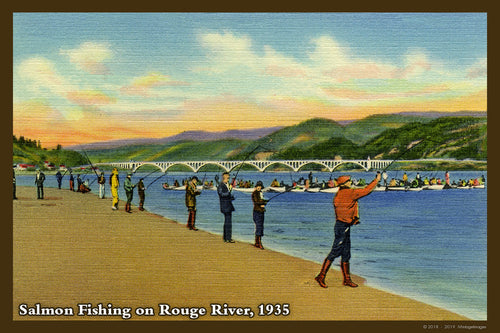 Salmon Fishing Postcard 1935 - 038