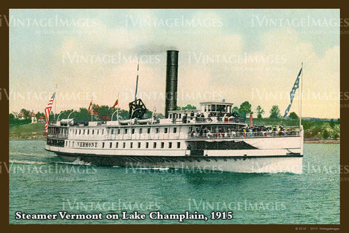 Steamer on Lake Champlain Postcard 1915 - 021