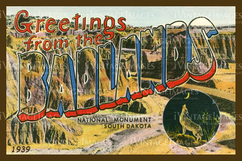 Badlands Postcard 1939 - 19