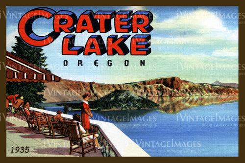 Crater Lake Postcard 1935 - 5
