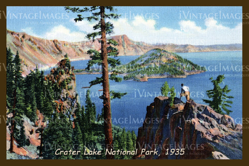 Crater Lake Postcard 1935 - 11