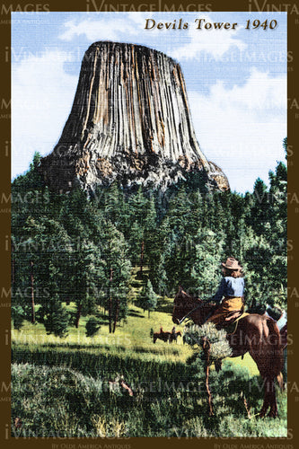 Devils Tower Postcard 1940 - 3